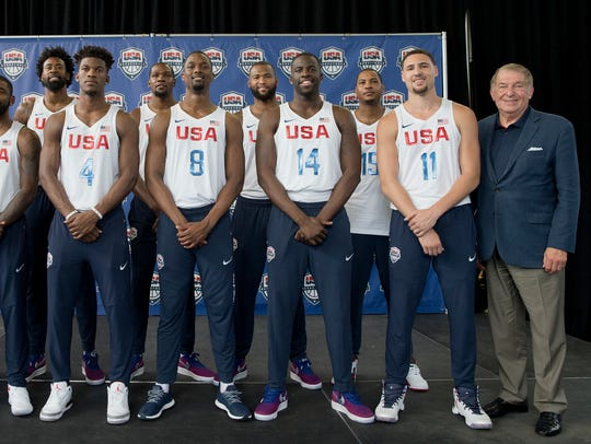 The U.S. men's Olympic basketball team poses for a