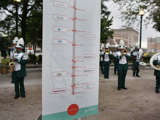 Cass Technical High School Marching Band performs during a Ceremony to celebrate the public-private partnership behind the M-1 rail line, a 3.3-mile streetcar project that broke ground this summer at Grand Circus Park in Detroit on Friday, September 12, 2014.