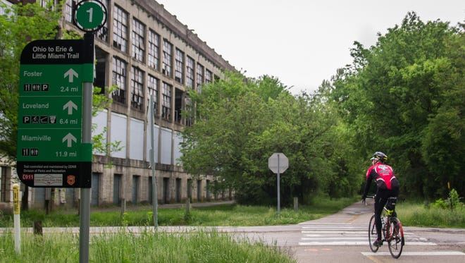The Little Miami bike trail runs along the outside of the old Peters Cartridge factory.