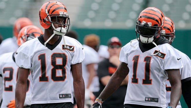 New Bengals wide receiver Brandon LaFell, right, says he is adjusting quickly to the offense alongside A.J. Green, left.