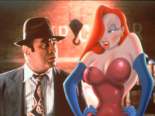 "While investigating Roger Rabbit's case Valiant (Bob Hoskins) finds Roger's wife Jessica on top of his list of suspects in ""Who Framed Roger Rabbit"" available on DVD and VHS."