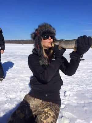 Katie Trzebiatowski caught this Northern pike with guide Phil Schweik in the winter of 2015.