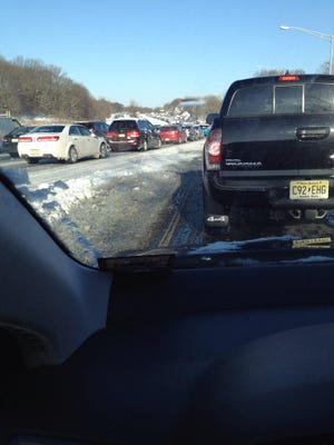 Traffic is backed up on the Garden State Parkway northbound from exit 109 to exit 114