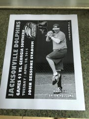 The Jacksonville University game program from Brian Holcomb's first college start against Georgia Southern on April 28.