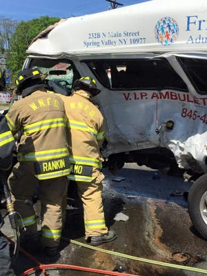 Ambulette involved in an accident with a  para-transit bus operated by Brega Transport Thursday afternoon on Route 303 in West Nyack near the Palisades Center Thursday where one person was killed and four others were seriously injured.