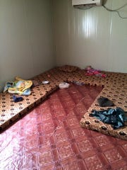 A family's sleeping quarters at the Syrian refugee camp in Jordan.