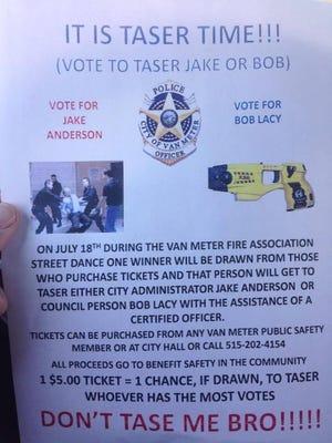 A poster advertises Van Meter's Taser contest.