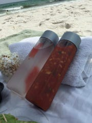 Hit the beach with some gazpacho, sea salt and olive oil popcorn and plenty of fluids for a healthy and fun day.