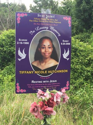 A sign honoring Tiffany Hutchinson, a Dover woman who was killed in a crash on Del. 9 in 2008, was stolen.