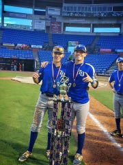 Leon grad and TCC signee Josh Nothdorft (left) celebrates a state title for Post 13 with Florida High alum Dennis Ratliff.