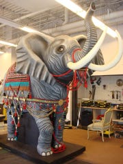 """Designing and building theater sets, including this elephant used in Dixie High School's production of """"Phantom of the Opera,"""" is just one of Jeremy Bird's many creative outlets."""