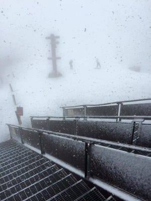 Mammoth Mountain got a dusting of snow on Sept. 14 at the peak, which reaches 11,053 feet in elevation.