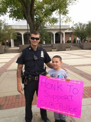 Rahway officer Connor McGrath and George O'Connell outside Rahway City Hall.
