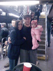 Brian Weldon, 29, poses with Edwina Negron, 33, and their daughter, Molly, when she was seven months, in a Manhattan subway station. In March 2014, the baby, then nine months, was placed in Dutchess County foster care after Negron assaulted her. Weldon's family has been trying since to get her back.