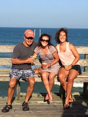 Andrew Milburn (father), Siobhan Milburn (half-sister) and Kaela Allton at a North Carolina beach during summer vacation.