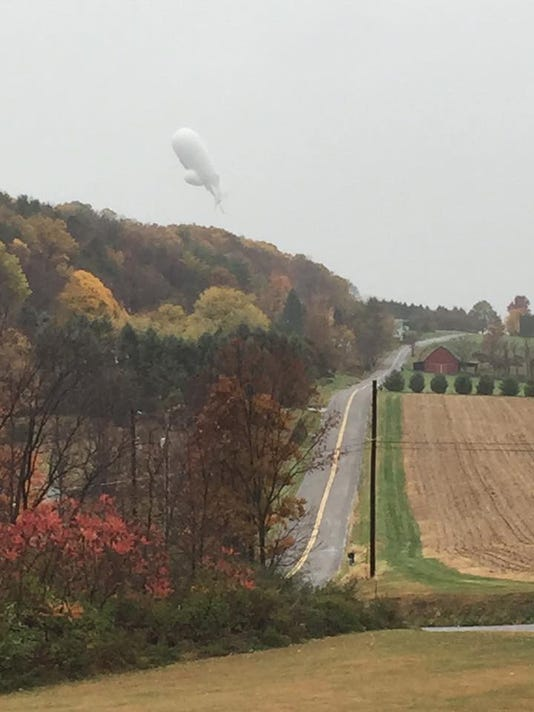 """Holly Starr took this photo of the wayward """"blimp"""" as it floated over the greater Bloomsburg area on Wednesday, Oct. 28, 2015."""
