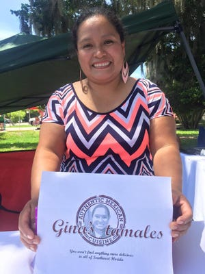 Ortiz sells her tamales at the Green Market at the Alliance for the Arts in Fort Myers.