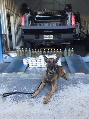 Pearl Police Department K-9 Splinter shows off his million-dollar drug bust from Sunday night.