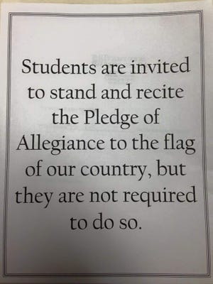 Signs posted in Santa Rosa County School District classrooms after a parent of a middle-school student complained about the absence of notice in classrooms will soon come down thanks to the omnibus education bill.