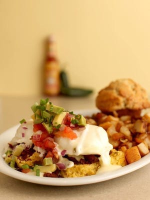 The Kalamity Katie's Border Benedict from Wild Eggs, which plans to open in downtown Nashville
