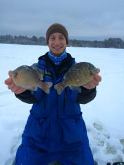 Mack Jenz with a couple of big central Wisconsin bluegills