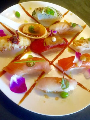 A chef's plate of fresh sushi from Obon.