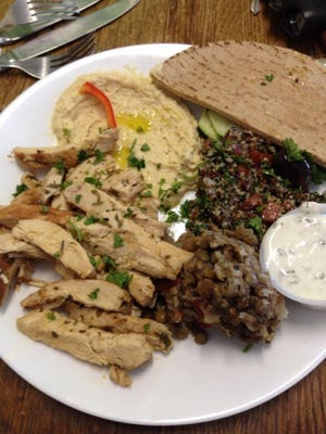 The chicken shawarma plate lunch at Sandra's Cafe and Health Food Store.