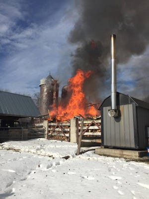 New Jersey State Police rescued more than a dozen farm animals from a barn fire in Hope township on Jan. 30, 2016.