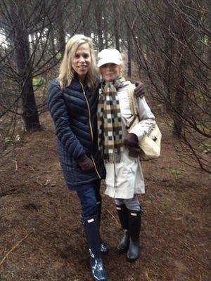 Sydne George and Polly Kolstad truffle hunting at Angela Estate.