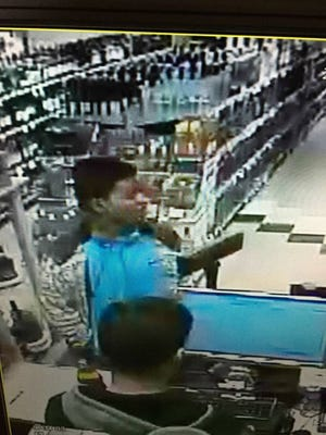Surveillance video of suspect New Jersey State Police are seeking in a hit-and-run incident at a Buena Vista liquor store.