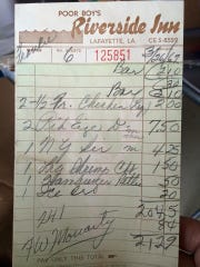 This bill from Poor Boy's Riverside Inn in 1967 shows that six people could eat a meal for little more than $20.