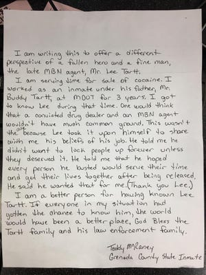 A letter sent to The Clarion-Ledger from a state inmate about fallen MBN Agent Lee Tartt.