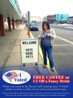 """The Raven Café is giving away one free coffee or half-off a specialty drink for customers that show their """"I voted"""" sticker or show the barista a selfie of themselves with their precinct sign."""
