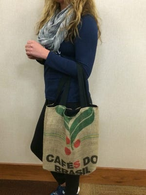 ReVinyl takes used coffee bean bags and turns them into tote bags.