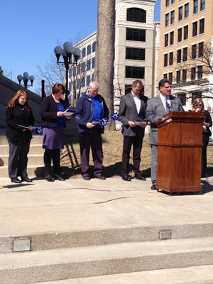 Mayors Tony Roswarski and John Dennis declare April Child Abuse Prevention Month during a proclamation last year.