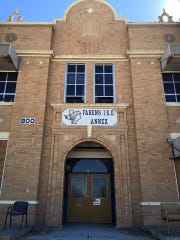 The high school is one of two Trost-designed buildings that remain in Fabens. It was built in 1925.