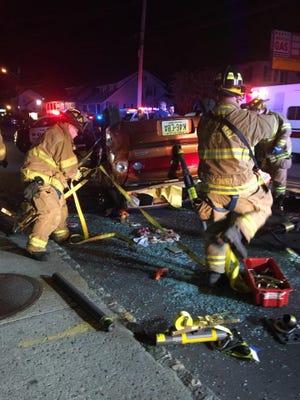 Police responded to a rollover crash Monday in Rockaway.
