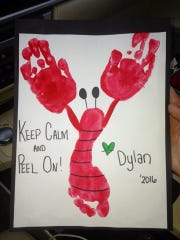 My son, Dylan, made this crawfish craft during Mardi