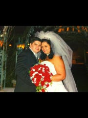 Krystle and her husband, Carlos, at their wedding.