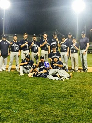 The Pine Plains baseball team poses together after winning the Section 9 Class C title in Saugerties on Saturday.
