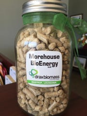 A jar of pellets created at the Morehouse BioEnergy