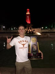 El Pasoan Will Licon with his NCAA trophy on the University of Texas campus. He competes later this month in the U.S. Olympic swimming trials in Omaha, Neb.
