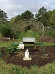 Grape arbor and solar oven at Anna Lee's LuLuLand.