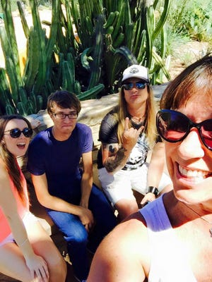When it's this hot, if you are going to do anything outside, do it early. With the cousins at Desert Botanical Gardens.