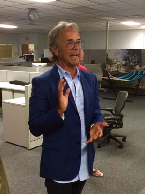 Entertainment lawyer and U.S. Senate candidate Steven Machat (I) chats with Tallahassee Democrat staff during a visit on Tuesday, June 21, 2016.