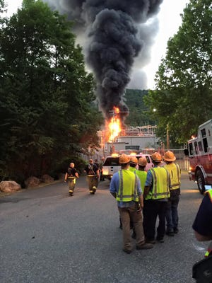 A fire at a substation at 333 Torne Valley Road in Hillburn