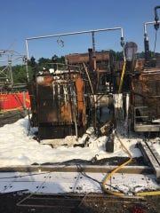 Remains of transformer that burned in Hillburn's Torn