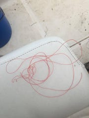Some of the fishing wire from which the turtle was rescued.