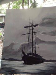 My first and only sailing ship painting. All other