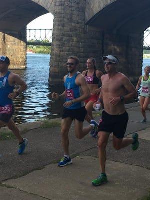 Jim Boyer (No. 121) was the top area finisher at the Harrisburg Half Marathon on Sunday.
